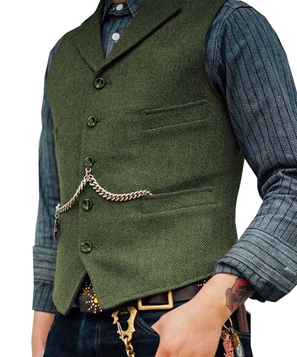 Royal Blue Vest Men's Formal Business Herringbone Suit Vest Wool/Tweed Notch Notch Lapel Waistcoat Groomsmen For Wedding New