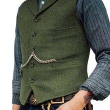 Royal Blue Vest Men's Formal Business Herringbone Suit Vest Wool/Tweed Notch Not