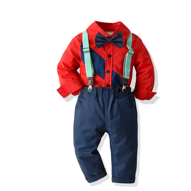 Toddler Boy Gentleman outfit Shirt + Jeans 3