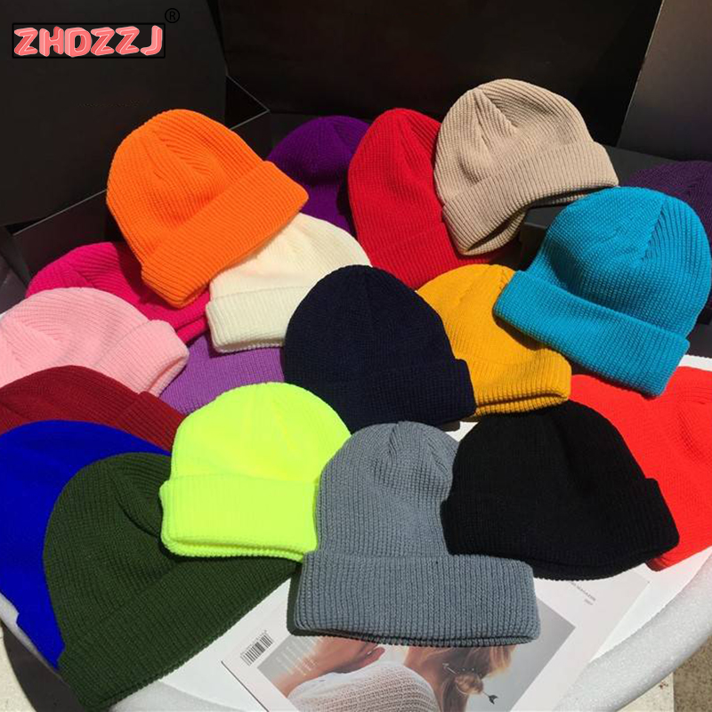 Winter Knit Couple Solid Color Female Hat Korean Version Of Wild Men's Trend Hat 2019 New Fashion Candy Color Student Wool Cap