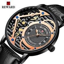 Награда розовое золото часы для мужчин большой циферблат кварцевые