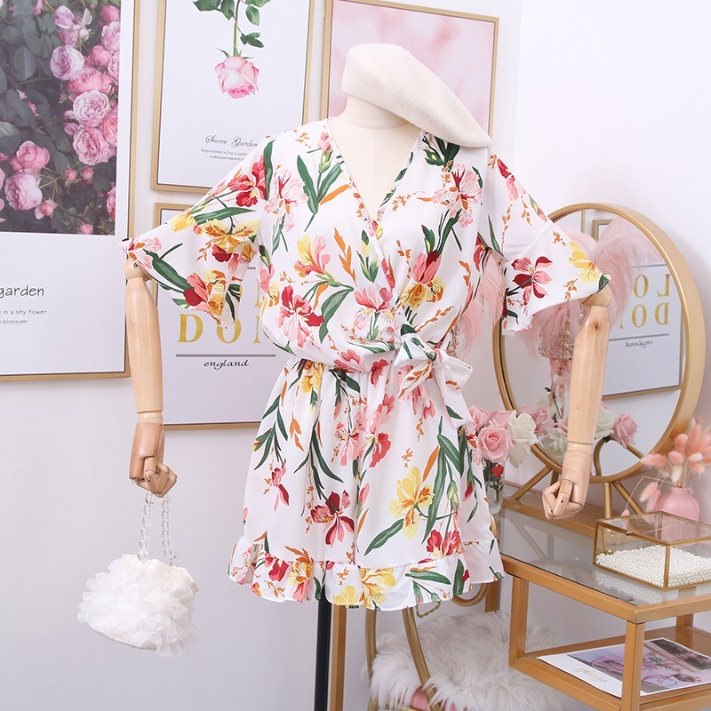 V Neck Flare Short Sleeve Print Wide Leg Jumpsuit Holiday Beach Multicolor Ruffles Bodysuit High Waist Hip Playsuit Barboteuse
