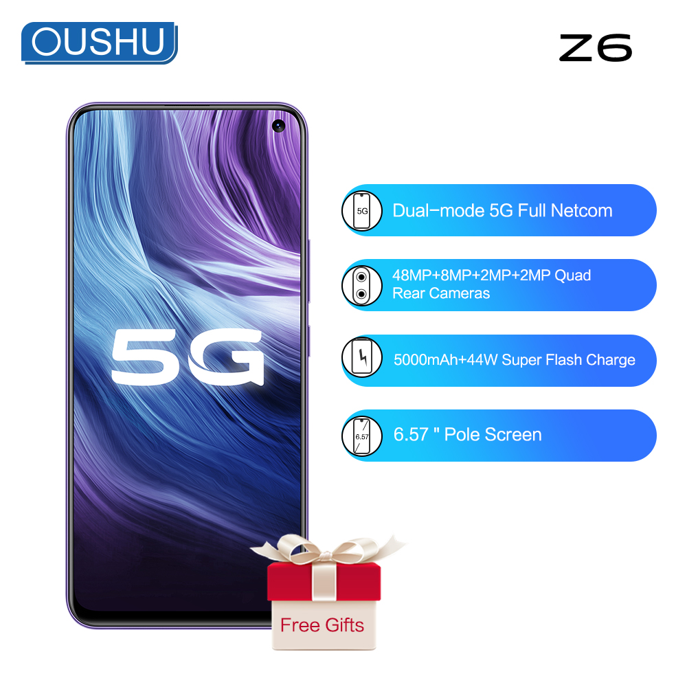 2020 Vivo 5G Smartphone Z6 Snapdragon 765G Android 10.0 FingerPrint+Face ID 48MP Quad Rear Cameras 44W Flash Charge 5G Cellphone