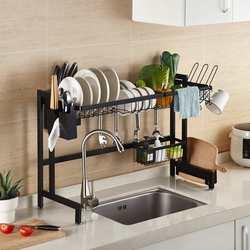 Negro dos capas de acero inoxidable estante de cocina en forma de U rejilla para escurrir para fregadero organizador de cocina estante de almacenamiento soporte 65/79/85/95cm