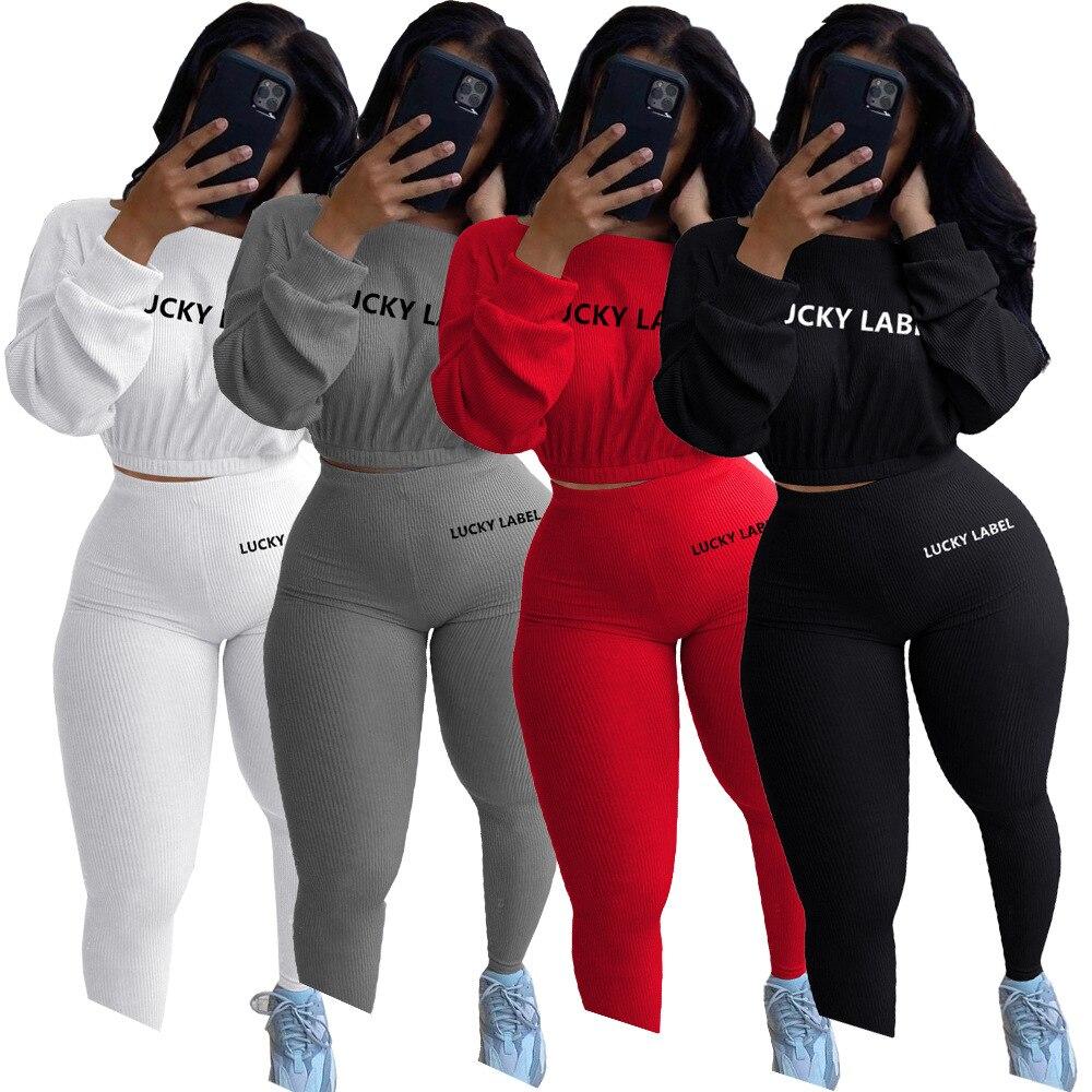 Etiqueta da sorte 2 peça conjunto feminino leggings de topo de colheita casual doce malha alta estiramento bodycon jogger outfit atacado dropshipping