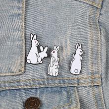Забавные Броши «кролик» злой белый животное эмаль металлические булавки для женщин Детское пальто рубашка сумка куртки воротник нагрудные Бижутерия Подарки