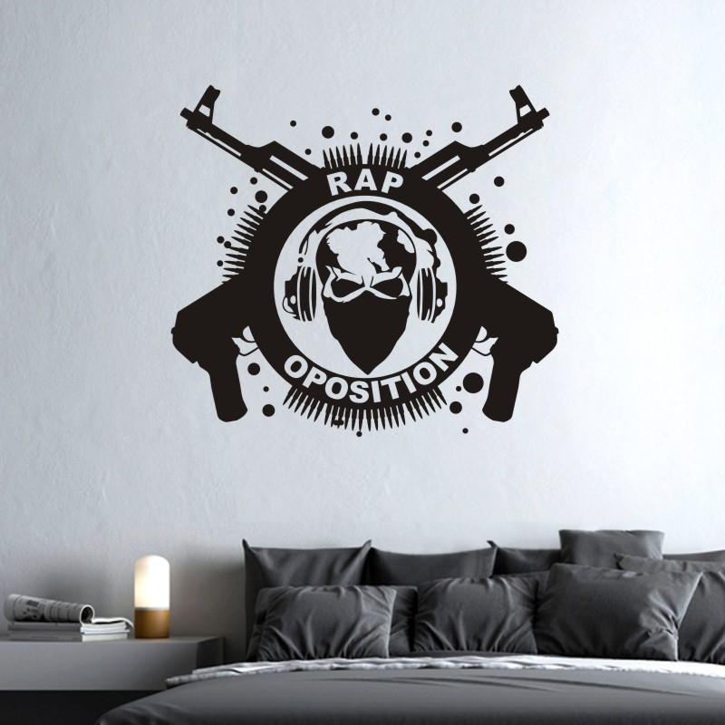 Music Rap Rock Wall Sticker Decor Kids Room Home Decoration Posters Vinyl Music Rock AK47 Skull Car Decal(China)