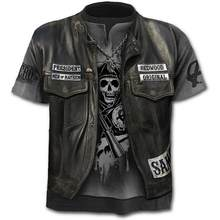 2021 new hot sale men's motorcycle punk T-shirt 3d printing skull casual retro hip-hop style oversized fashionable and comfortab