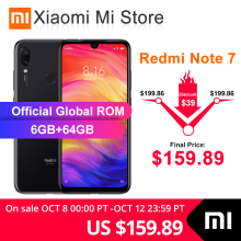 Xiaomi Redmi Note 7 6GB GSM/LTE/WCDMA Quick Charge 4.0 5g wi-Fi Octa Core Fingerprint Recognition