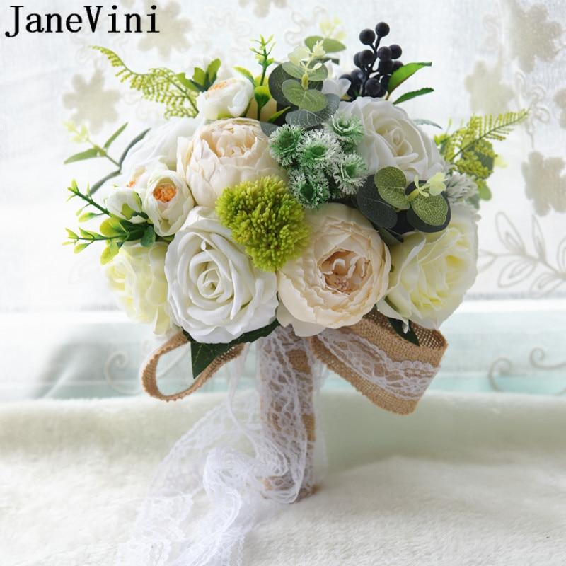 JaneVini Korea Style Country Wedding Bouquet Pivoine Ivory Peonies Artificial Blue Red Bridal Flowers Bouquet De Mariée Bleu