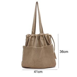 Image 5 - 2020 Winter New Korean Suede Drawstring Tote Bag Casual Women Handbags Middle Ladies Shoulder Bag Young Shopping Bag Whole Sale