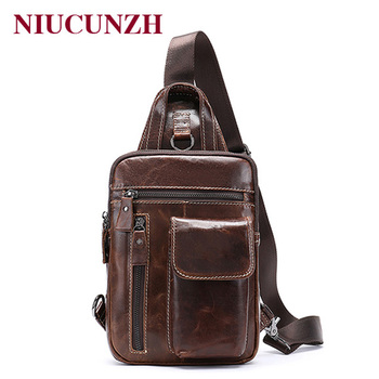 NIUCUNZH Men's Bag Genuine Leather Messenger Bag Men Leather Shoulder Bags Man Male Chest Pack Sling / Crossbody Bags for Men