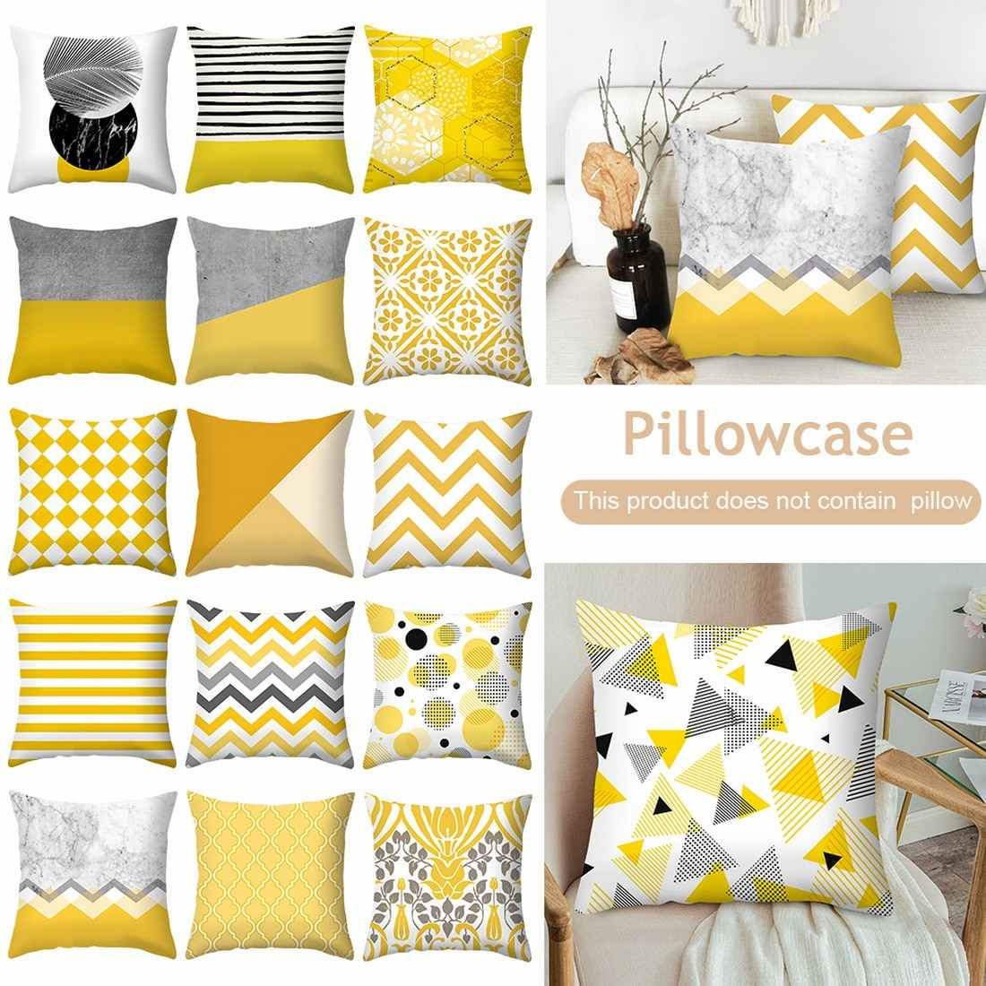 Yellow Geometric Printed Throw Pillow Case Sofa Car Waist Cushion Cover Office Kussenhoes Housse De Coussin Pillowcase 45x45cm Cushion Cover Aliexpress