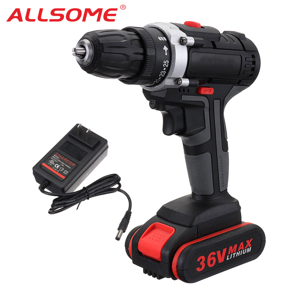 ALLSOME 36V Electric Screwdriver Cordless Power Drills Mini Wireless Power Driver DC Lithium-Ion Battery 2-Speed HT2796