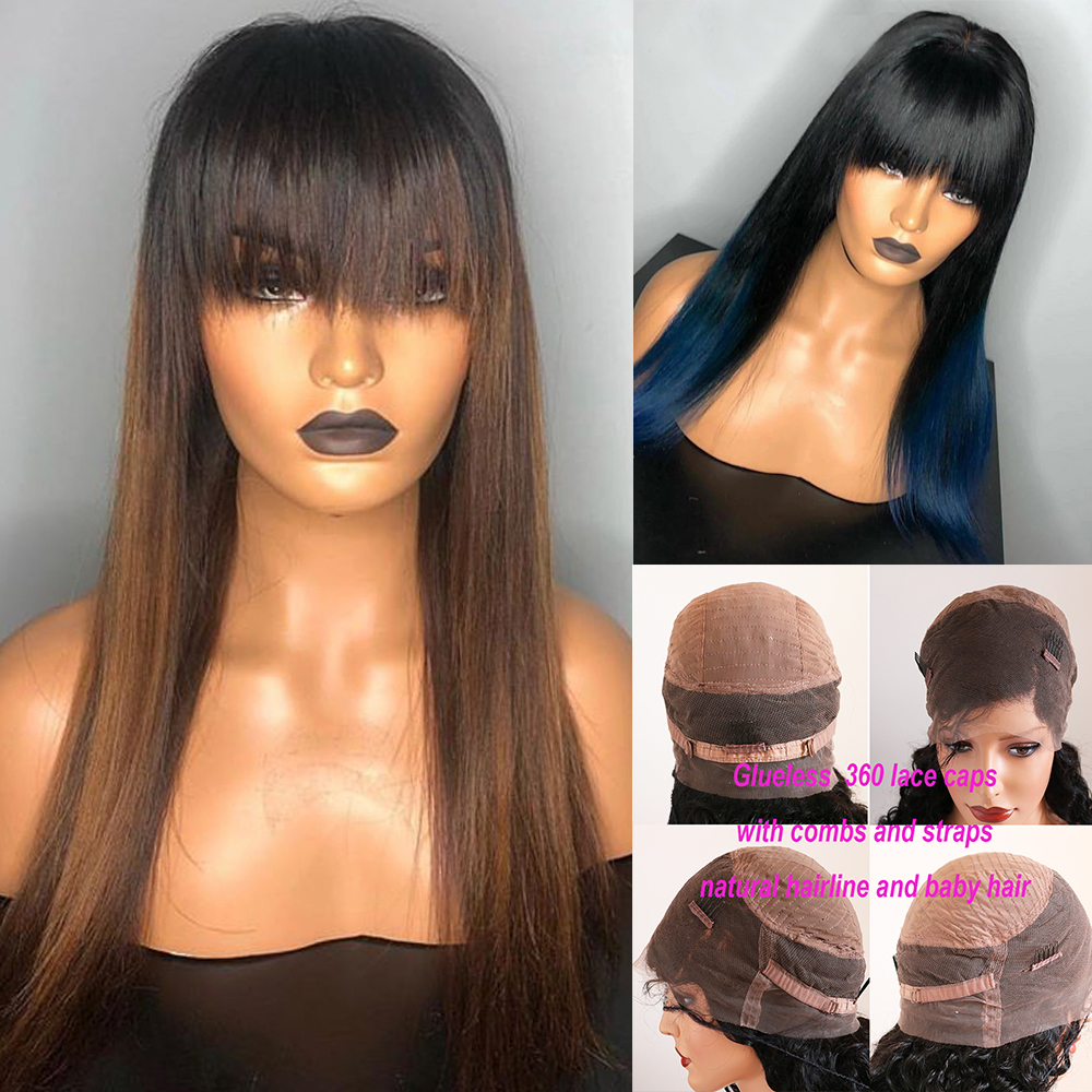 Eversilky Ombre Blue Brown 360 Lace Frontal Human Hair Wigs With Bang  Blonde Straight Brazilian Remy With Baby Hair Fringe Wigs