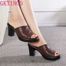 GKTINOO Women's Slippers Genuine Leather Sandals 2021 Summer High Heels Women Shoes Woman Slippers Summer Sandals Fashion Shoes
