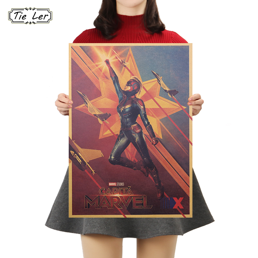 TIE LER Classic Kraft Paper Marvel Movie Vintage Poster Wall Sticker Bar Cafe Home Decoration Wallpaper Painting 51.5X36cm