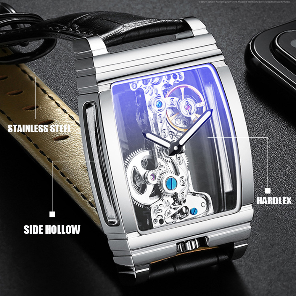 Transparent Hollow Tourbillon Automatic Mechanical Watch Men Fashion Stainless Steel Watches Mens Waterproof Wristwatch New 2019