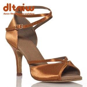 Image 1 - 2020 אישה שחור טאן ריקודים סלוניים נעלי נשים רחב רוחב Custom עקבים סלסה הלטינית נשים של נעלי ריקוד לטיני