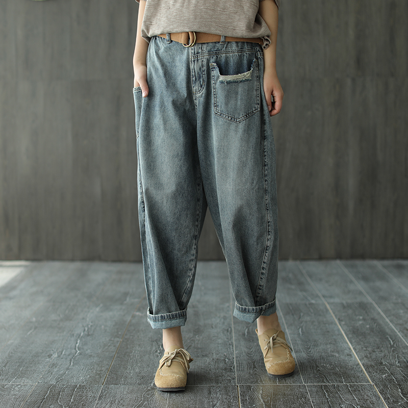 Summer Jeans Women Elastic Waist Loose Retro All-match Denim Pants 2020  New Casual Female Bleached Sashes Lantern Trousers