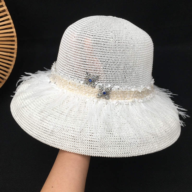 Natural summer  brim hollow out the fisherman  feathers elegant POTS hat topi beach sea sun hat bucket hats