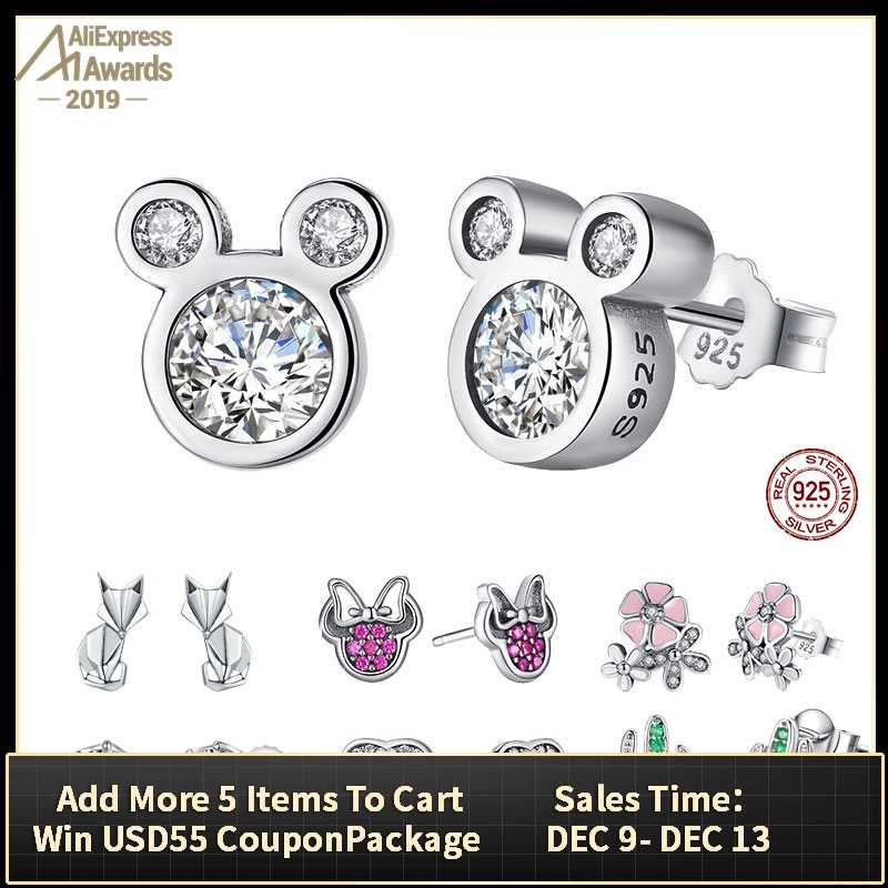 BISAER Wholesale 925 Sterling Silver Earrings Women Cartoon Mouse Animal Dolphin Cat Sparkling Minnie Silver 925 Jewelry