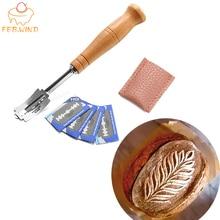 Herramientas de Lame para pan de plástico/madera raspador de panadería cuchillo para pan/rebanador/masa de corte panes puntuación Lame con cuchillas y cubierta 376