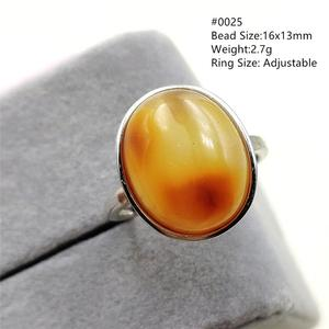 Image 3 - Natural Yellow Amber Adjustable Ring Gemstone Stone For Woman Man Wedding Engagement 925 Sterling Silver AAAAA