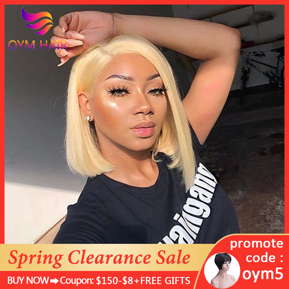 OYM HAIR Bob Wig 13x4 Lace Front Human Hair Wigs For Women Brazilian Straight Short Human Hair Wigs Pre Plucked 150% Remy Hair