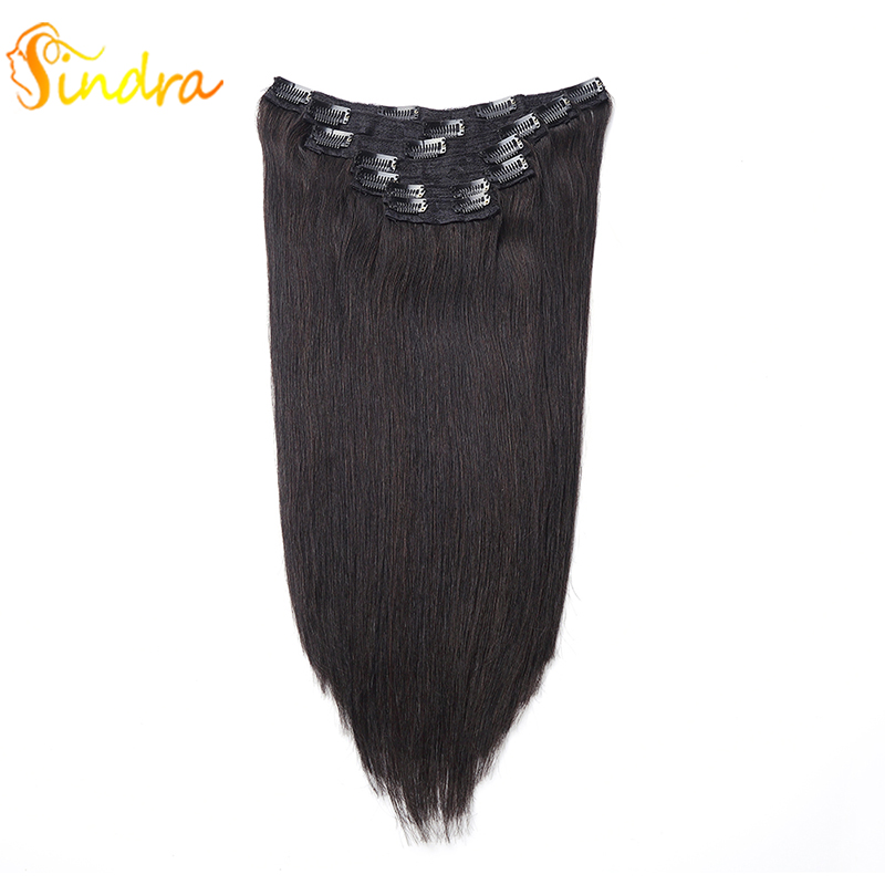 Sindra Clip In Human Hair Extensions Brazilian Remy Hair 90g 120g 1B Color Natural Straight Hair Extensions