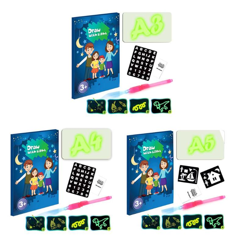 A3 A4 A5 LED Luminous Drawing Painting Board Graffiti Doodle Drawing Tablet With Pen Children Writing Pad Kids Gifts