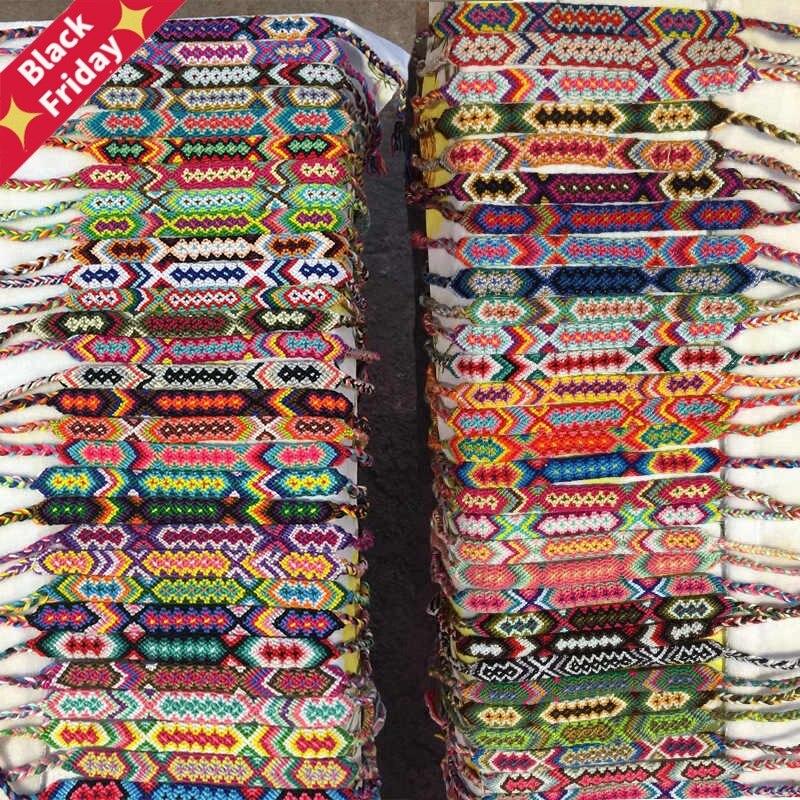 50pcs/Lots Multicolor Vintage Bohemian Braided Cotton Rope Cuff Wristbands Ethnic Anklet Bracelets For Men Women