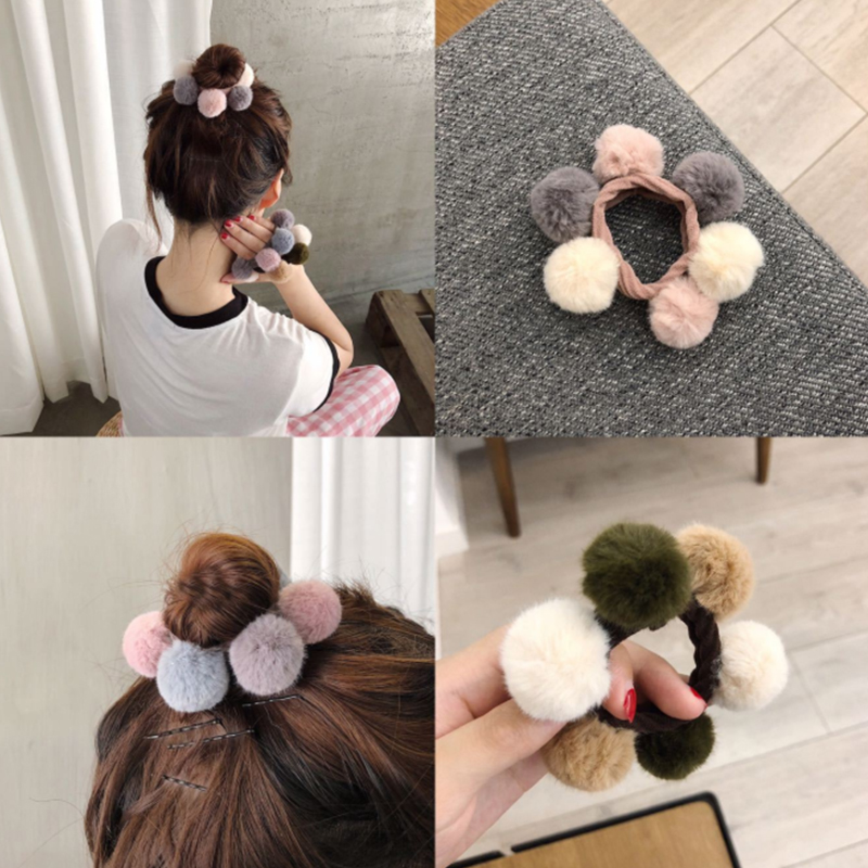 Hair Accessories Girls Rabbit Hair Ball Clip Ring Autumn And Winter Rubber Band Korean Pompom Hair Rope Children Headdress