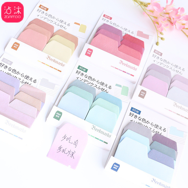 Colorful Sticky Notes Solid Color Memo Pad Mini Sticky Notes Bookmark Decorative Stationary School Office Supplies