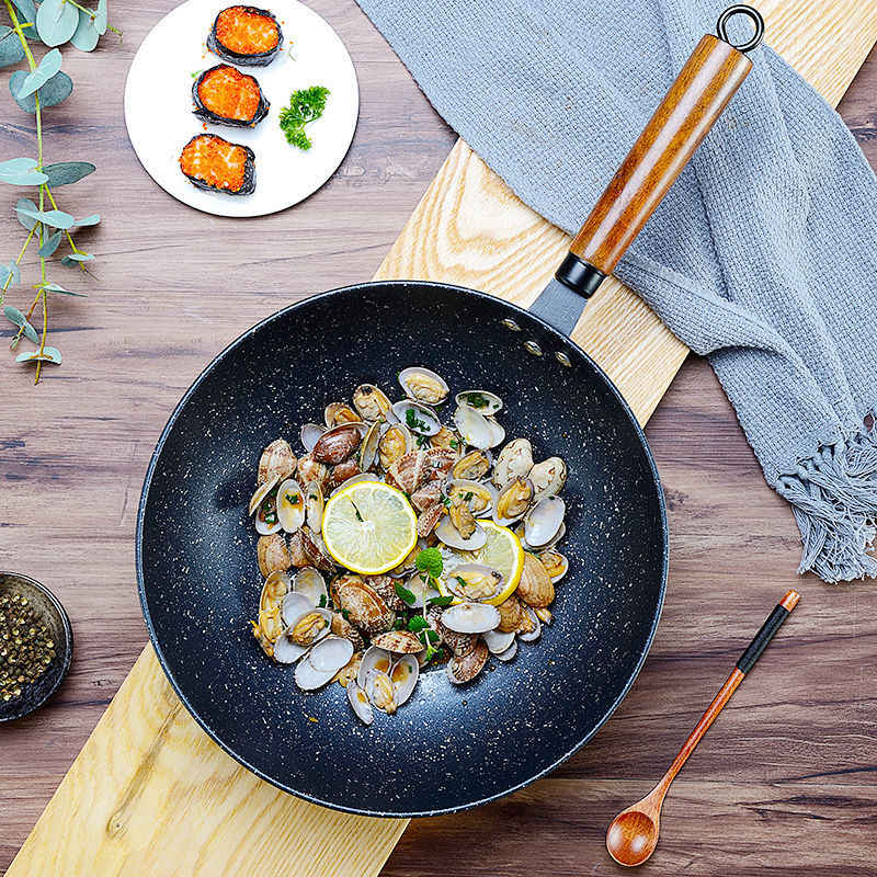 Poêle antiadhésive casserole anti-fumée avec Wok poêle antiadhésive Wok cuisinière à gaz cuisinière universelle poêle Wok Hotpot poêle à oeufs