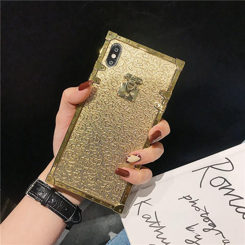 H4a50ea1d7b1f4806a65d966355b66541Z - Hot 3D Luxury Square Gold glitter case for iphone X XR XS MAX 6 S 7 8 soft cover for Samsung S10 Plus S9 S8 coque