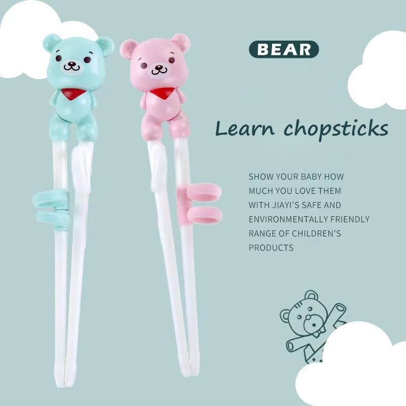 Multi Color Cute Bear Learning Training Chopstick Kid Children Learner Gifts Value Chinese food Tie line Non-Slip chopsticks image