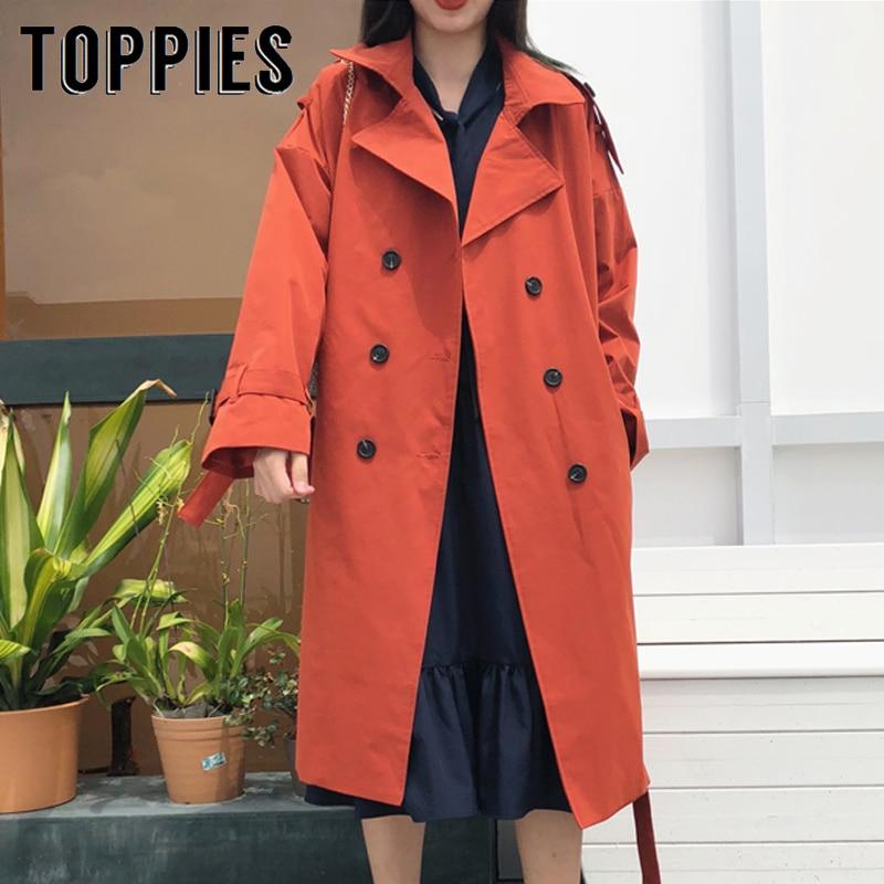 Trench   Coat Fall 2019 Double Breasted Windbreaker Women Long Coat Korean Women Clothes Abrigo Largo Mujer