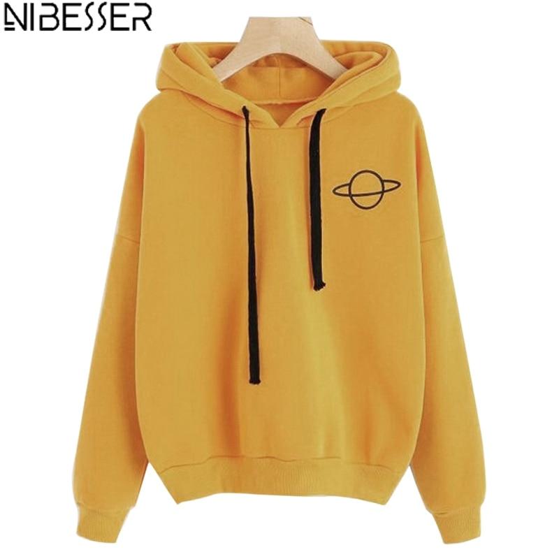 NIBESSER Fashion Brand Harajuku Style Hoodies For Girls Casual Hooded Tops Sweatshirt Long-sleeved Cute Sweet Streetwears Mujer