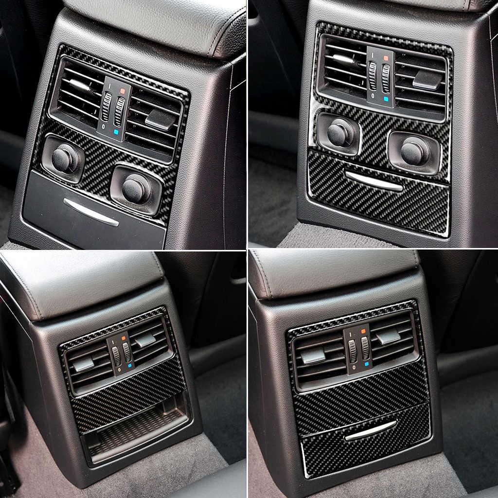 Pour BMW E90 E92 3 série 2005-2012 fibre de carbone voiture arrière climatisation panneau de sortie cadre revêtement d'habillage voiture style accessoires