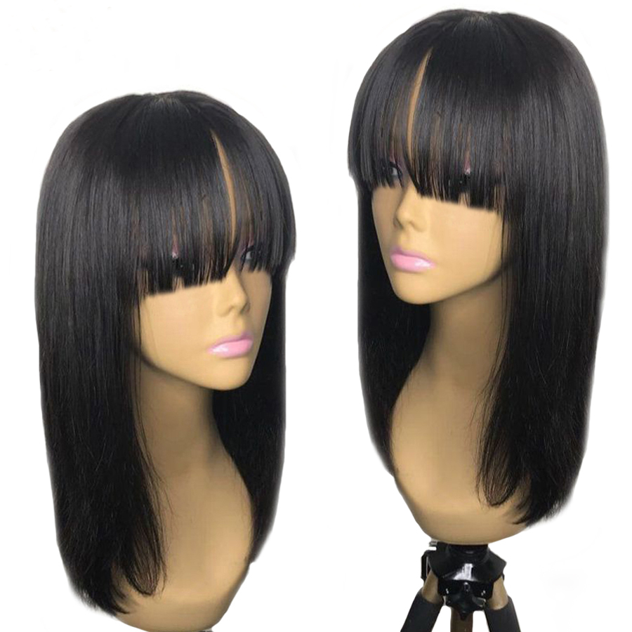 Eversilky Peruvian Remy Hair Fringe Wig Human Hair Glueless 360 Lace Frontal Wig With Bangs Bleached Knots Lace Wigs For Women
