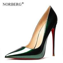Spring utumn Women Sexy Pumps 12cm High Heeled Leather Shoes Wedding Red Bottom HeelsWoman high heels Big 34-43