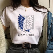 2021 Harajuku Attack on Giant Woman Tshirts Top Design White Short Sleeve Aesthetic Japanese Anime