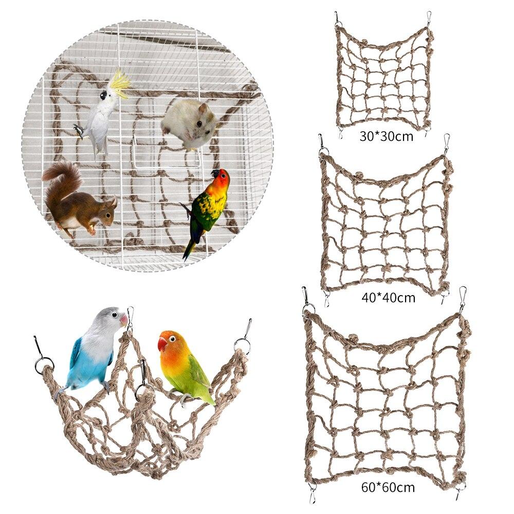 Pet Bird Climbing Net Bird Parrot Toys Hemp Rope Training Climbing Cage Toy Pet Bed Bird Cage Toy