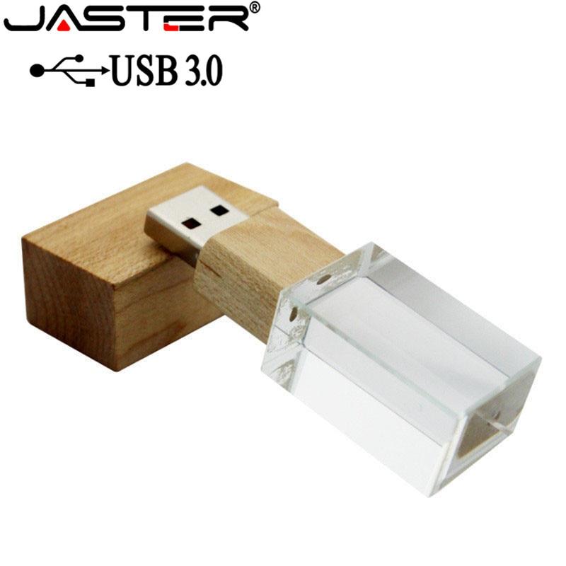 JASTER USB 3.0 Creative Wooden Crystal Pendrive Pen Drive 4GB 16G 32GB 64GB USB Flash Drive Memory Stick  Free Custom Logo