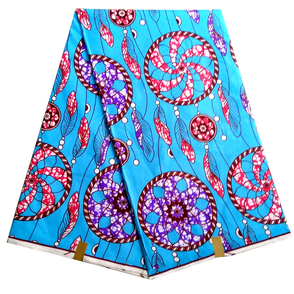 African Nigerian Dutch Wax Fabrics High Quality Ankara Polyester Print Sky-Blue Color Wax Fabric
