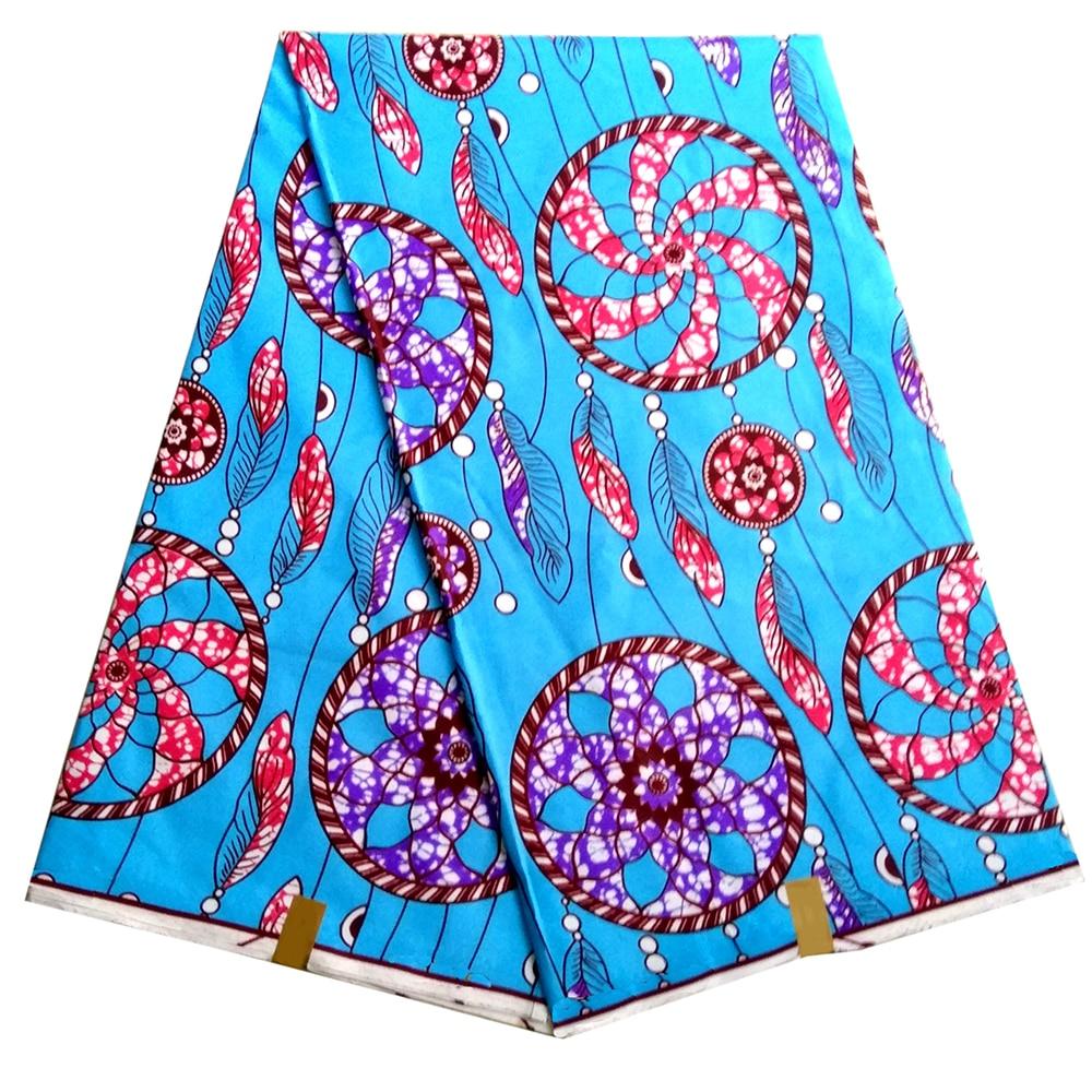 African Nigerian Dutch Wax Fabrics High Quality Ankara Polyester Print Sky-Blue Color Wax Fabric