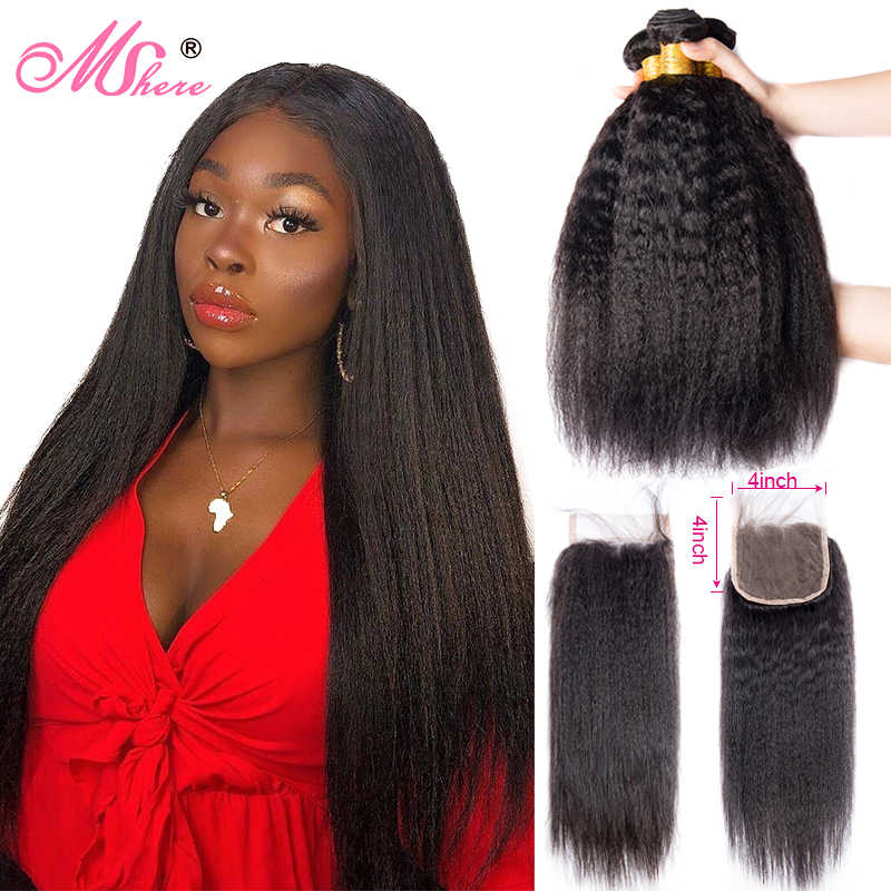 Mshere Kinky Straight Hair Bundles with Closure 3/4 Bundles Malaysia Hair Closure With Baby Hair Yaki Straigh Human Hair