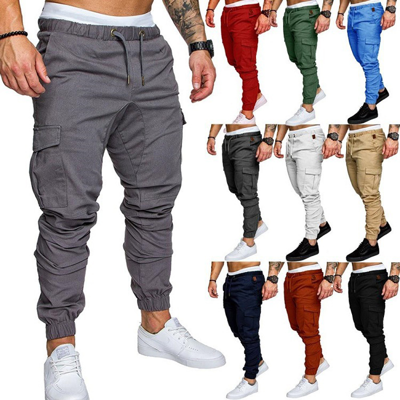 Men Cargo Pants Casual Joggers Mens Solid Color Cotton Long Trousers Pantalon Homme Military Hip Hop Leggings Tactical 2020 New