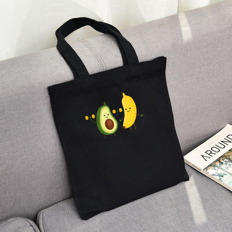 Women Canvas Shoulder Bag Love Story Female Cotton Cloth Handbag Casual Tote Simple Eco Shopping Bags Banana Avocado Friends